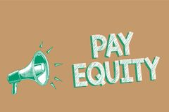 Conceptual hand writing showing Pay Equity. Business photo showcasing eliminating sex and race discrimination in wage systems Mega. Phone brown background royalty free illustration