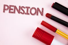 Conceptual hand writing showing Pension. Business photo text Income seniors earn after retirement Saves for elderly years written. Plain background Pens Pencil Royalty Free Stock Images