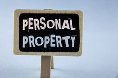Conceptual hand writing showing Personal Property. Business photo showcasing Belongings possessions assets private individual owne. R written Wooden Notice Board Royalty Free Stock Photography