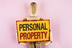 Conceptual hand writing showing Personal Property. Business photo text Belongings possessions assets private individual owner writ. Ten Sticky note paper plain Royalty Free Stock Images