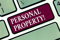 Conceptual hand writing showing Personal Property. Business photo text Belongings possessions assets private individual. Owner Keyboard key Intention to create stock photos