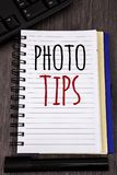 Conceptual hand writing showing Photo Tips. Business photos showcasing Suggestions to take good pictures Advices for great photosg. Conceptual hand writing stock photos