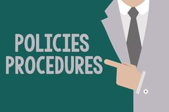 Conceptual hand writing showing Policies Procedures. Business photo text Influence Major Decisions and Actions Rules Guidelines.  vector illustration