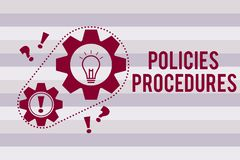 Conceptual hand writing showing Policies Procedures. Business photo text Influence Major Decisions and Actions Rules Guidelines.  royalty free illustration