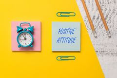 Conceptual hand writing showing Positive Attitude. Business photo text Being optimistic in Life Looking for good things. Conceptual hand writing showing Positive royalty free stock image