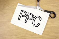 Conceptual hand writing showing Ppc. Business photo text Pay Per Click Advertising Strategies Direct Traffic to Websites written o. Conceptual hand writing stock images