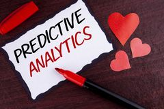 Conceptual hand writing showing Predictive Analytics. Business photo text Method to forecast Performance Statistical Analysis writ. Ten Sticky Note Paper wooden Stock Images