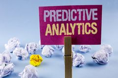 Conceptual hand writing showing Predictive Analytics. Business photo text Method to forecast Performance Statistical Analysis writ. Ten Sticky Note Paper plain Royalty Free Stock Photo