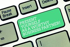 Conceptual hand writing showing Present Yourself As A Worthy Business Partner. Business photo text Good introduction of. Yourself Keyboard Intention to create royalty free stock images