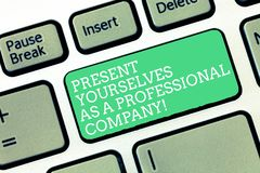 Conceptual hand writing showing Present Yourselves As A Professional Company. Business photo text Formal introduction of. Yourself Keyboard Intention to create royalty free stock photos