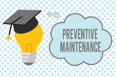 Conceptual hand writing showing Preventive Maintenance. Business photo showcasing Avoid Breakdown done while machine