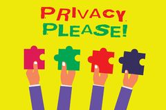 Conceptual hand writing showing Privacy Please. Business photo showcasing asking someone to respect your personal space Leave alon. E Royalty Free Illustration