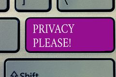Conceptual hand writing showing Privacy Please. Business photo text asking someone to respect your personal space Leave alone.  Royalty Free Illustration