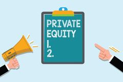 Conceptual hand writing showing Private Equity. Business photo text Capital that is not listed on a public exchange Investments.  vector illustration