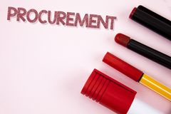 Conceptual hand writing showing Procurement. Business photo text Obtaining Procuring Something Purchase of equipment and supplies. Written plain background Pens Royalty Free Stock Image