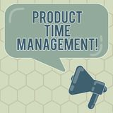 Conceptual hand writing showing Product Time Management. Business photo text Organizing, planning and analysisaging time. Effectively Megaphone and Rectangular royalty free illustration