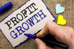 Conceptual hand writing showing Profit Growth. Business photo showcasing Financial Success Increased Revenues Evolution Developmen. T written Sticky Note the Stock Images