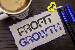 Conceptual hand writing showing Profit Growth. Business photo showcasing Financial Success Increased Revenues Evolution Developmen. T written Sticky Note wooden Royalty Free Stock Photography