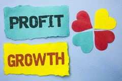Conceptual hand writing showing Profit Growth. Business photo showcasing Financial Success Increased Revenues Evolution Developmen. T written Tear Papers the Sky Royalty Free Stock Photography
