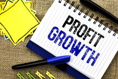Conceptual hand writing showing Profit Growth. Business photo showcasing Financial Success Increased Revenues Evolution Developmen. T written Notebook Book the Royalty Free Stock Photos