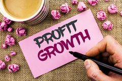 Conceptual hand writing showing Profit Growth. Business photo text Financial Success Increased Revenues Evolution Development writ. Ten by Man Holding Marker Royalty Free Stock Photography