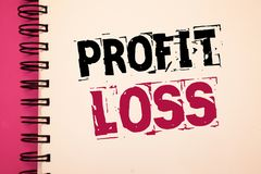 Conceptual hand writing showing Profit Loss. Business photos showcasing Financial year end account contains total revenues and exp. Conceptual hand writing stock photos