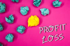 Conceptual hand writing showing Profit Loss. Business photos showcasing Financial year end account contains total revenues and exp. Conceptual hand writing stock image