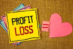 Conceptual hand writing showing Profit Loss. Business photos text Financial year end account contains total revenues and expensesI. Conceptual hand writing royalty free stock photography