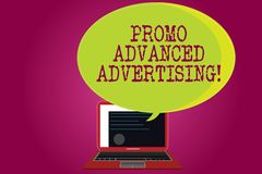 Conceptual hand writing showing Promo Advanced Advertising. Business photo text inform target audiences the merits of a. Product Certificate Layout on Laptop royalty free illustration