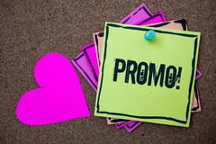 Conceptual hand writing showing Promo Motivational Call. Business photo showcasing Piece of advertising Discount Special Offer Sal. E Love art paper lovely nice Stock Photos