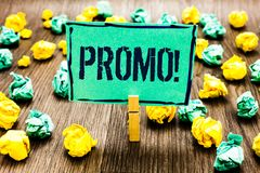 Conceptual hand writing showing Promo Motivational Call. Business photo showcasing Piece of advertising Discount Special Offer Sal. E Crumpled papers ideas stock photos