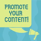Conceptual hand writing showing Promote Your Content. Business photo showcasing inform or persuade target audiences. About the product Color Silhouette of Blank royalty free illustration