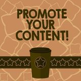 Conceptual hand writing showing Promote Your Content. Business photo text inform or persuade target audiences about the. Product 3D Coffee To Go Cup with Lid vector illustration