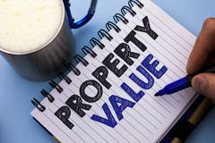 Conceptual hand writing showing Property Value. Business photo text Estimate of Worth Real Estate Residential Valuation written by. Man Notebook Book Holding royalty free stock image