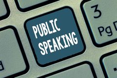 Conceptual hand writing showing Public Speaking. Business photo showcasing talking people stage in subject Conference. Presentation stock image