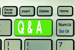Conceptual hand writing showing Q and A. Business photo text Exchange of questions and answers between groups of showing.  stock photo