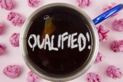 Conceptual hand writing showing Qualified Motivational Call. Business photo showcasing Certified to perform a job Competent Experi. Enced written Tea in Cup Royalty Free Stock Photography