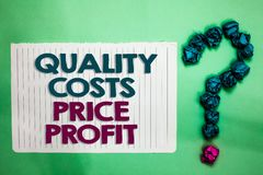 Conceptual hand writing showing Quality Costs Price Profit. Business photo text Balance between wothiness earnings value white not royalty free stock photos