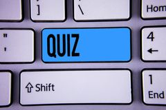 Conceptual hand writing showing Quiz. Business photo showcasing Short Tests Evaluation Examination to quantify your knowledge writ. Ten Key Button Keyboard with Royalty Free Stock Image