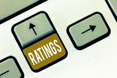 Conceptual hand writing showing Ratings. Business photo showcasing Classification Ranking Quality Perforanalysisce Standards compa. Rison royalty free stock image