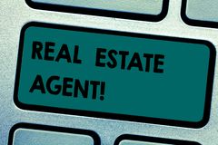 Conceptual hand writing showing Real Estate Agent. Business photo showcasing professionals who negotiate and arrange royalty free stock photo