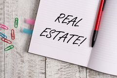 Conceptual hand writing showing Real Estate. Business photo text owning property consisting of empty land or buildings. Conceptual hand writing showing Real stock images