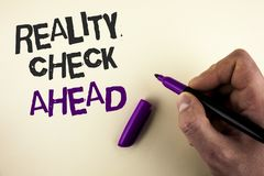 Conceptual hand writing showing Reality Check Ahead. Business photo showcasing Unveil truth knowing actuality avoid being sceptica. L written by Man plain royalty free stock photography