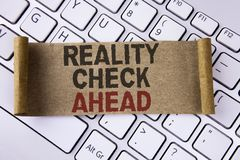 Conceptual hand writing showing Reality Check Ahead. Business photo showcasing Unveil truth knowing actuality avoid being sceptica. L written Folded Cardboard stock images