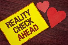 Conceptual hand writing showing Reality Check Ahead. Business photo text Unveil truth knowing actuality avoid being sceptical writ. Ten Yellow Sticky note paper royalty free stock image