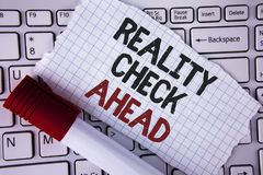 Conceptual hand writing showing Reality Check Ahead. Business photo text Unveil truth knowing actuality avoid being sceptical writ. Ten Tear Notebook paper royalty free stock photography