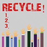 Conceptual hand writing showing Recycle. Business photo text Converting waste into reusable material. Conceptual hand writing showing Recycle. Business photo royalty free illustration
