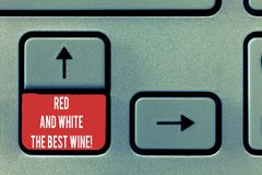 Conceptual hand writing showing Red And White The Best Wine. Business photo text Finest alcohol drinks Winery tasting. Expert Keyboard Intention to create stock photo