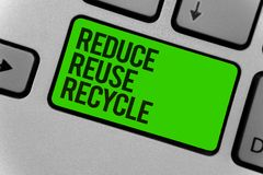Conceptual hand writing showing Reduce Reuse Recycle. Business photo showcasing ways can eliminate waste protect your environment. Computer program keyboard stock photo