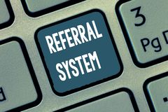 Conceptual hand writing showing Referral System. Business photo showcasing sending own patient to another physician for treatment.  royalty free stock photography